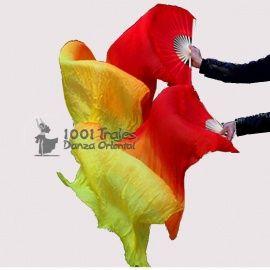 Abanicos de seda degradados Rojo-Naranja-Amarillo