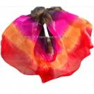 Velo de seda degradado Negro-Fucsia-Naranja-Rojo