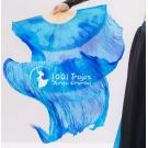 Abanicos de Seda Tie Dye Azul